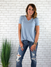 Basic Vneck Tee - Light Blue