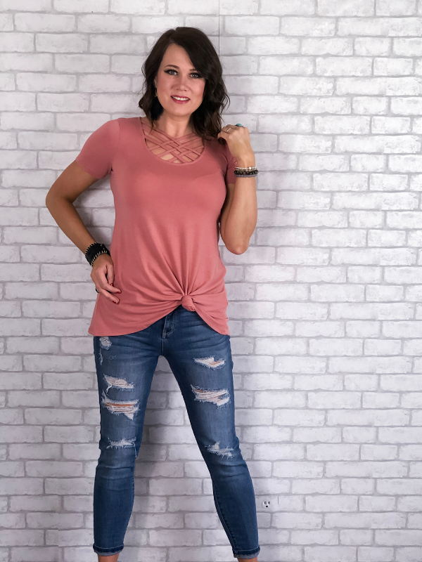 Basic Criss Cross Top - Rose