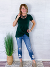 Basic Criss Cross Top - Hunter Green
