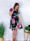 Swing Into Summer Floral Dress - Black