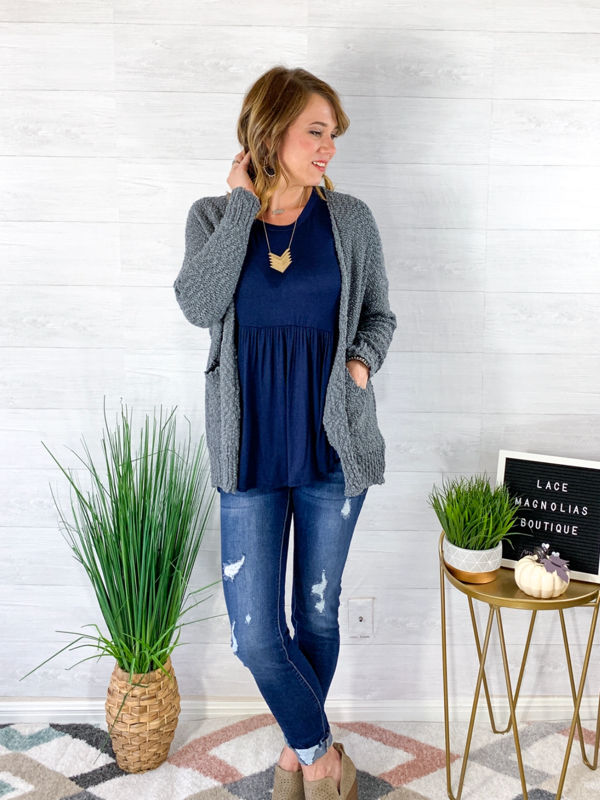 Choose To Be Cozy Cardigan - Charcoal