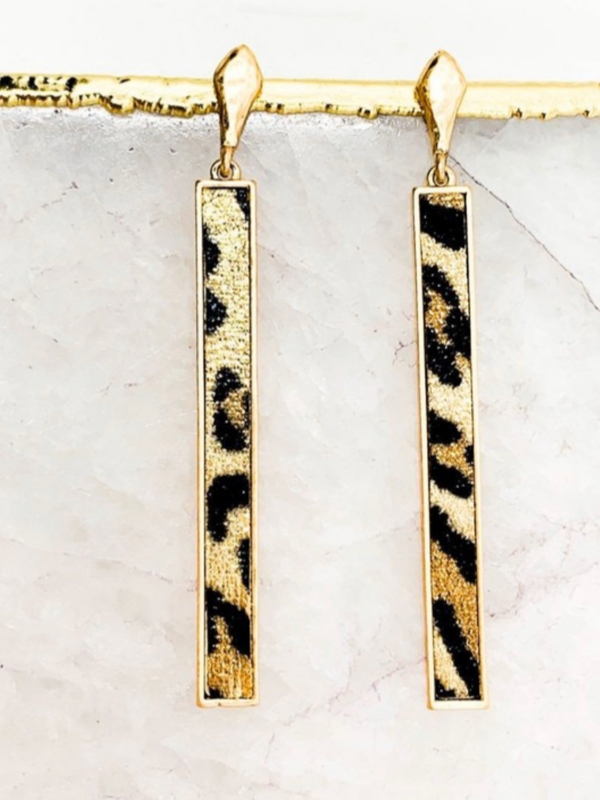 Tammy Bar Earrings - Leopard