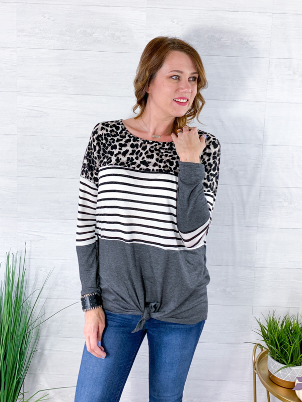 My Whole World Colorblock Top - Grey/Animal Print