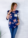 Make This Moment Last 3/4 sleeve Floral Top - Navy