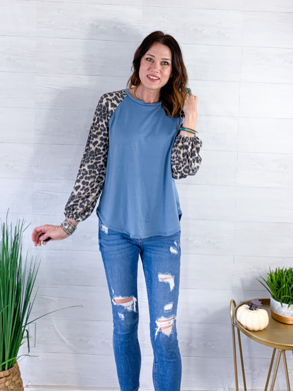 Forever After All Top - Blue/Animal Print