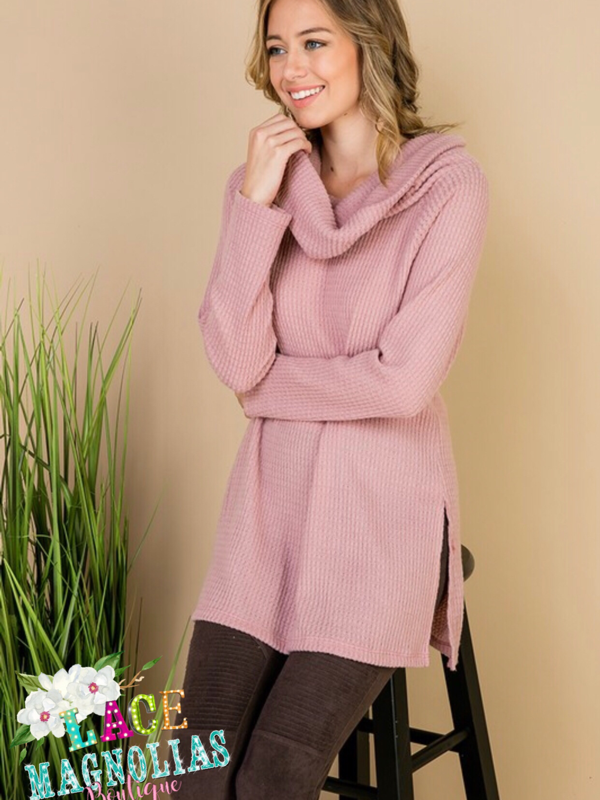 Warm Celebration Cowl Neck Tunic - Mauve
