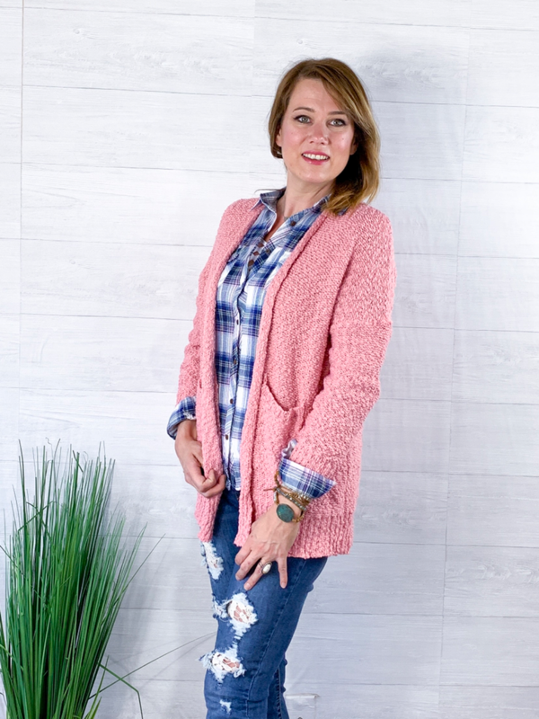 Choose To Be Cozy Cardigan - Blush