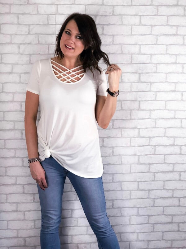 Basic Criss Cross Top - White