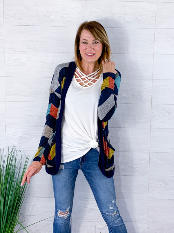 Say Yes To Love Cardigan - Navy