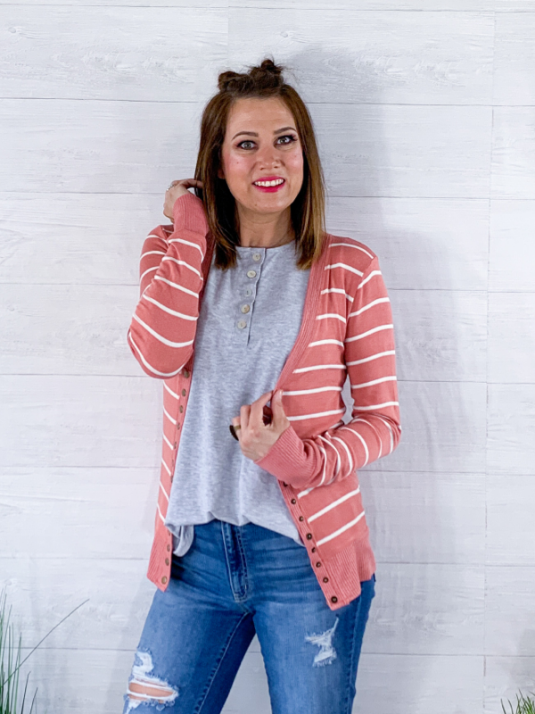 In Love With You Cardigan - Ash Rose/ Ivory