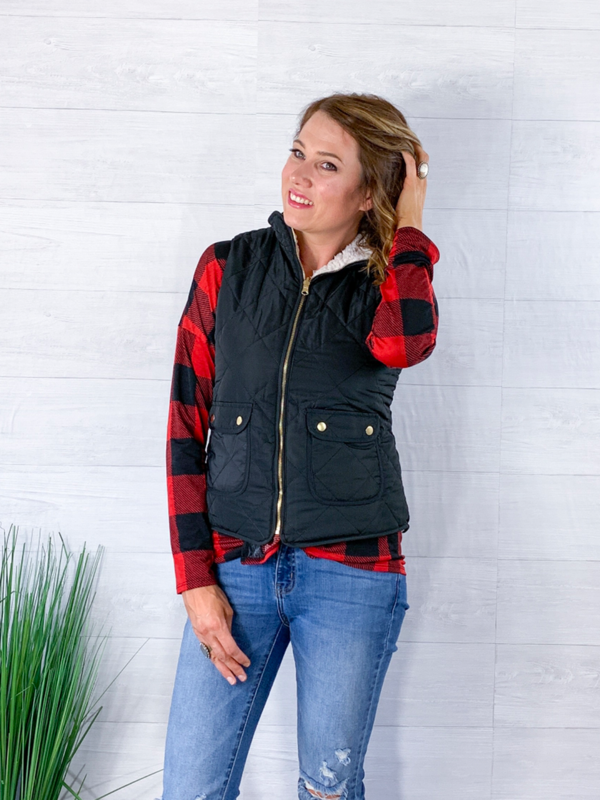 Reversible Quilted Sleeveless Vest - Black