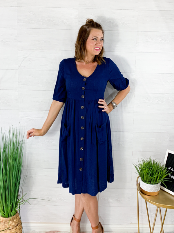 Midnight Dream Midi Dress - Navy