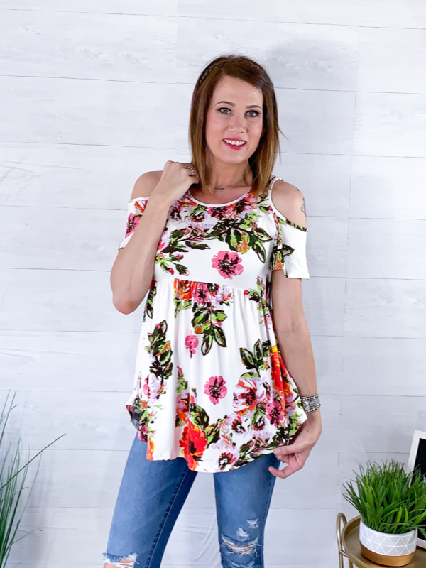 Tropical Vacation Cold Shoulder Top - Ivory