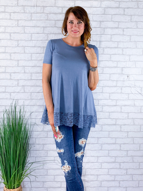 All Eyes On You Lace Top - Cement