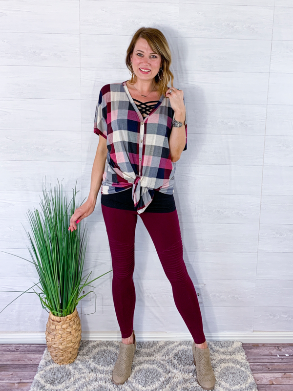 Living On The Edge Moto Leggings - Burgundy