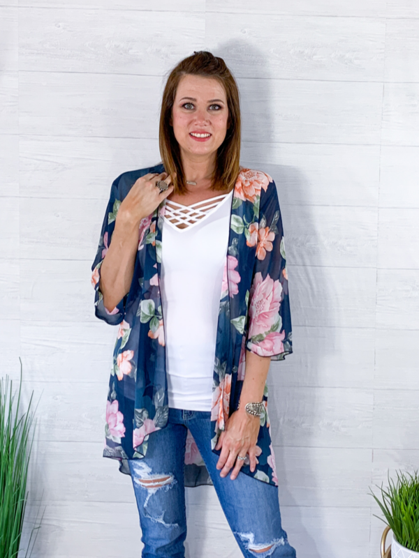 Midsummer Night's Dream Floral Kimono - Navy