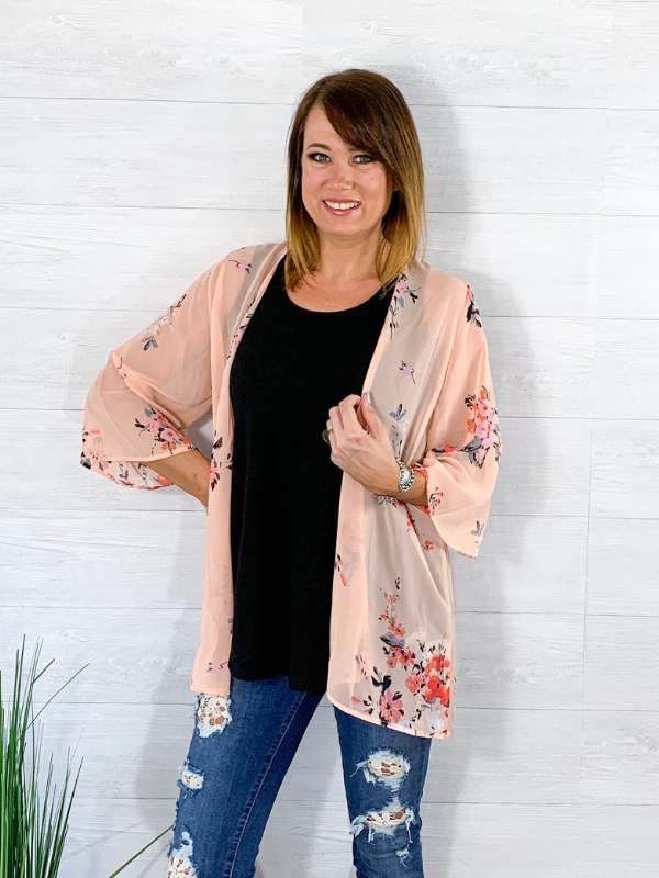 Midsummer Night's Dream Floral Kimono - Peach