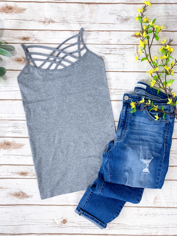 Criss Cross Cami - Heather Gray