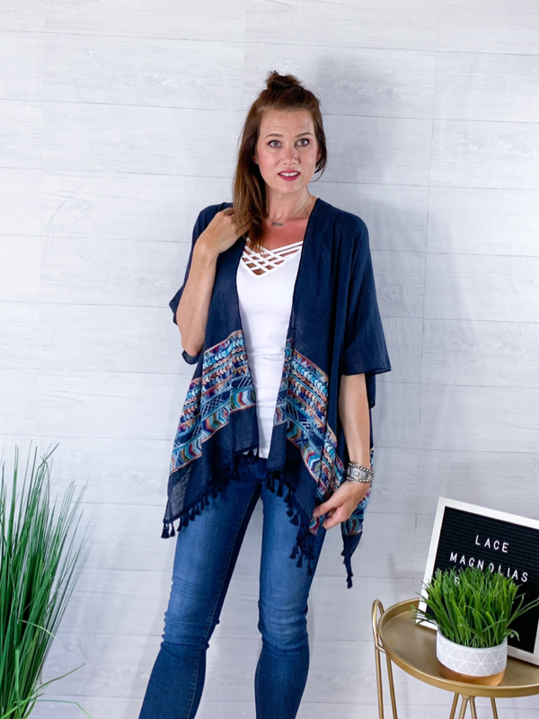 Dancing All Night Long Kimono - Navy