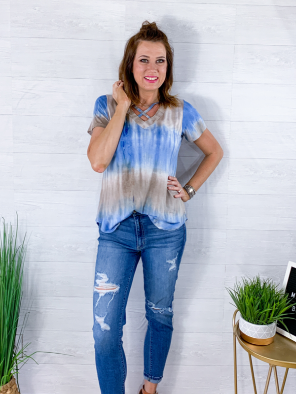 Anywhere With You Tie Dye Print Top - Denim/Taupe