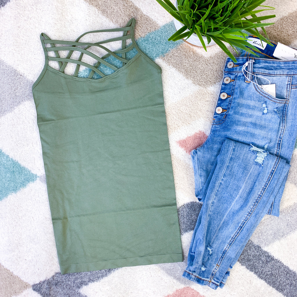 Criss Cross Cami - Light Olive