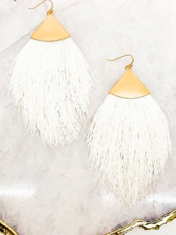 Grace Tassel Earrings - Ivory