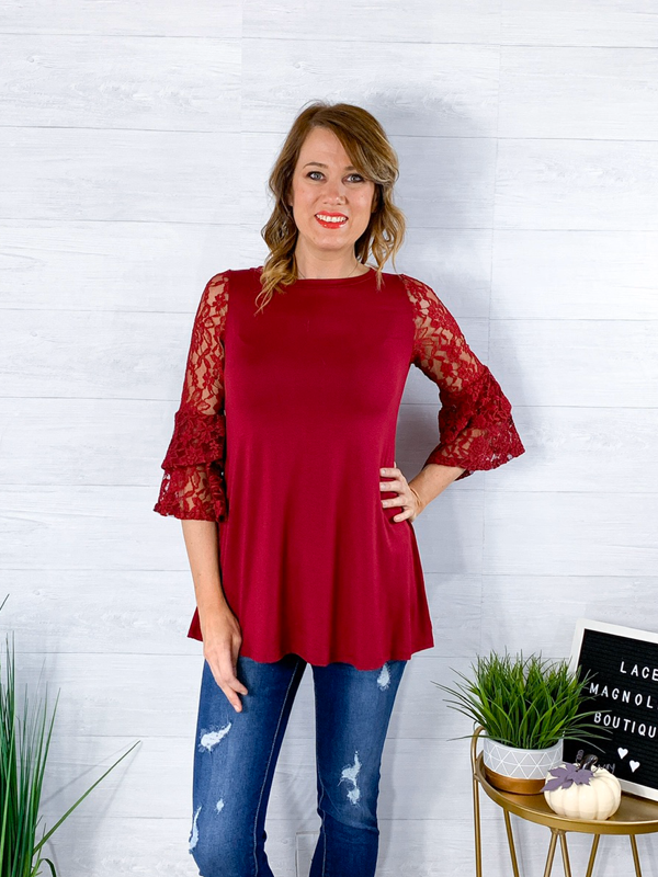 Chatching Compliments Lace Sleeve Blouse - Burgundy