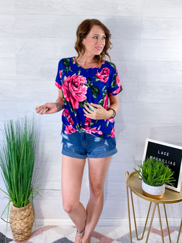 Hello Color Floral Top - Royal Blue