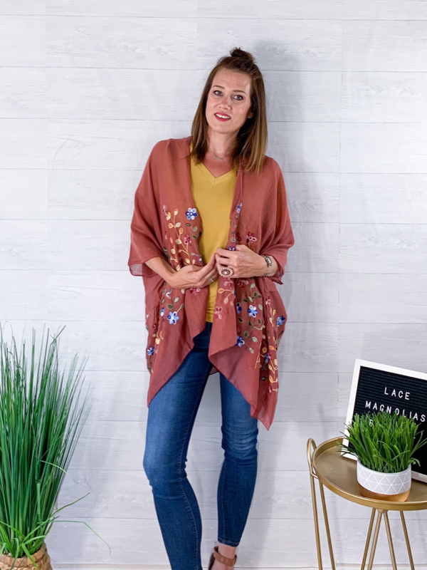 Southern Hospitality Floral Kimono - Copper