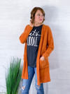 At The Pumpkin Patch Fuzzy Cardigan - Burnt Orange