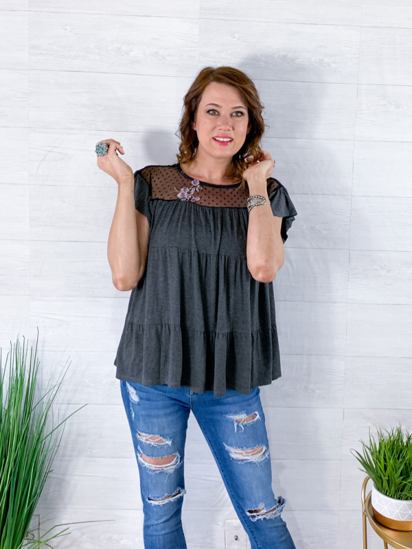 Feel So Loved Blouse - Charcoal