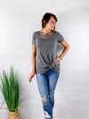Basic Criss Cross Top - Mid Grey