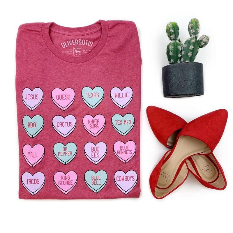 Texas Hearts Graphic Tee - Pink