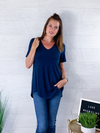 Basic Vneck Tee - Midnight Blue