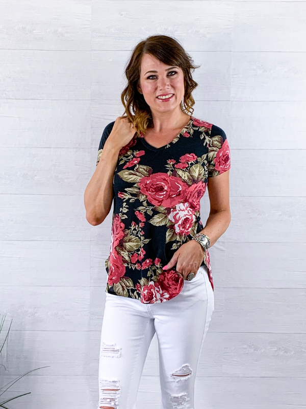 Feeling The Love Floral Top - Black