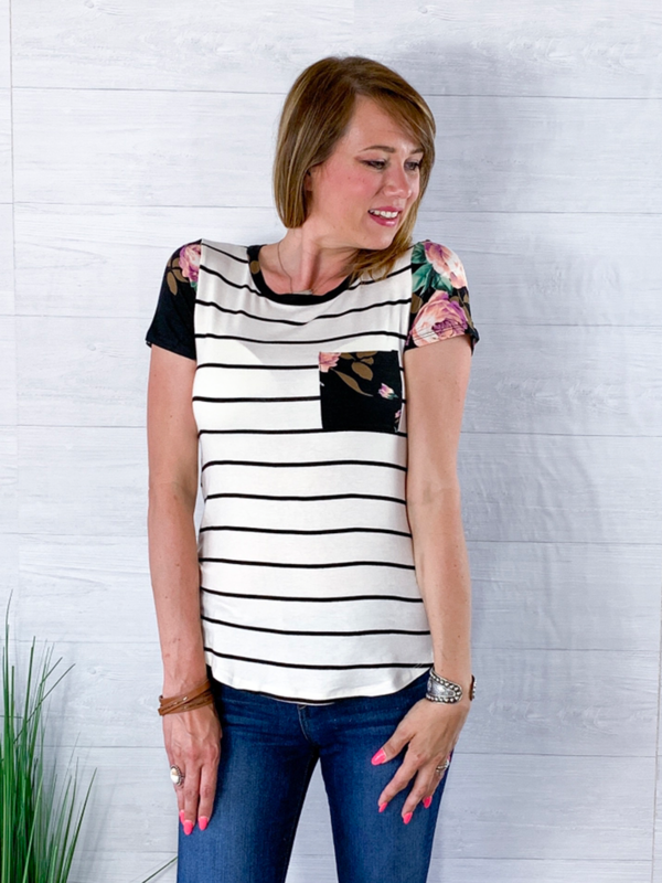 Our Love Story Striped Floral Pocket Top - Black/White
