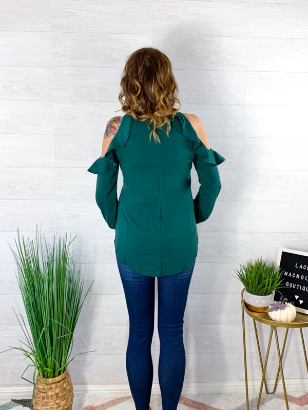 Star Of The Party Cold Shoulder Top - Hunter Green