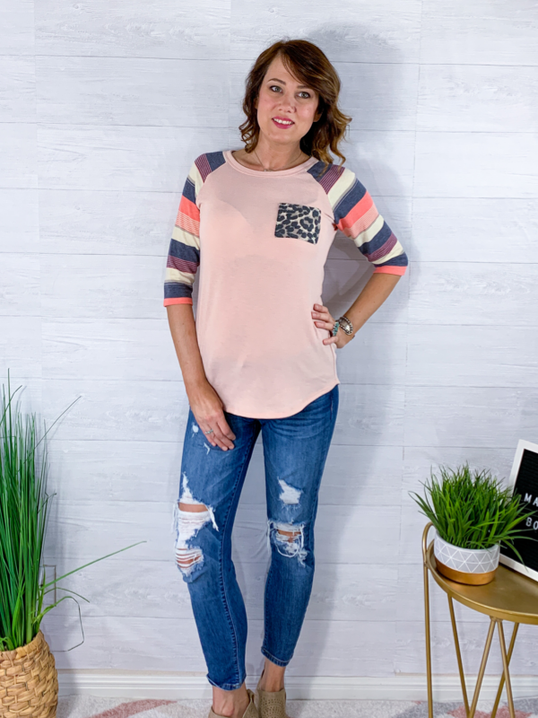 Casual Evening Top - Peach