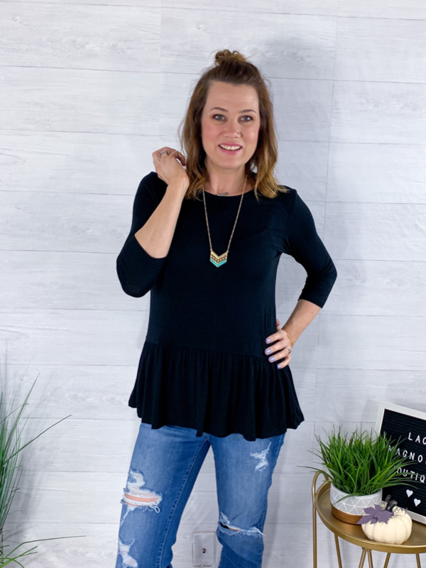 Good To Be Girly Top - Black
