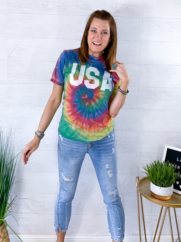 USA Acic Wash Tie Dye Tshirt - Multi Colored