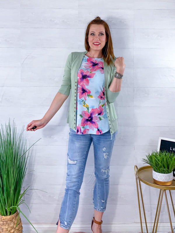 The Beach Is Calling Floral Top - Aqua