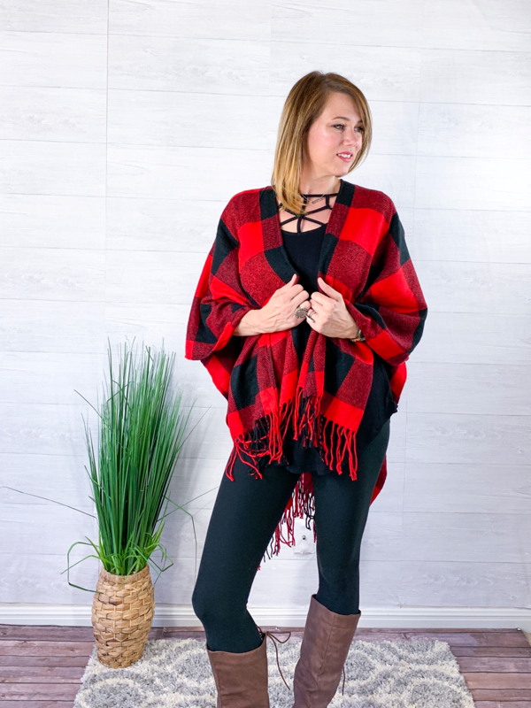 Holiday Spirit Buffalo Plaid Poncho - Black/Red