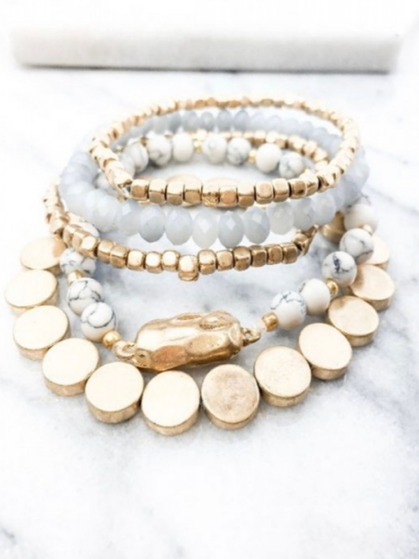 Sonya Bracelet Set - White