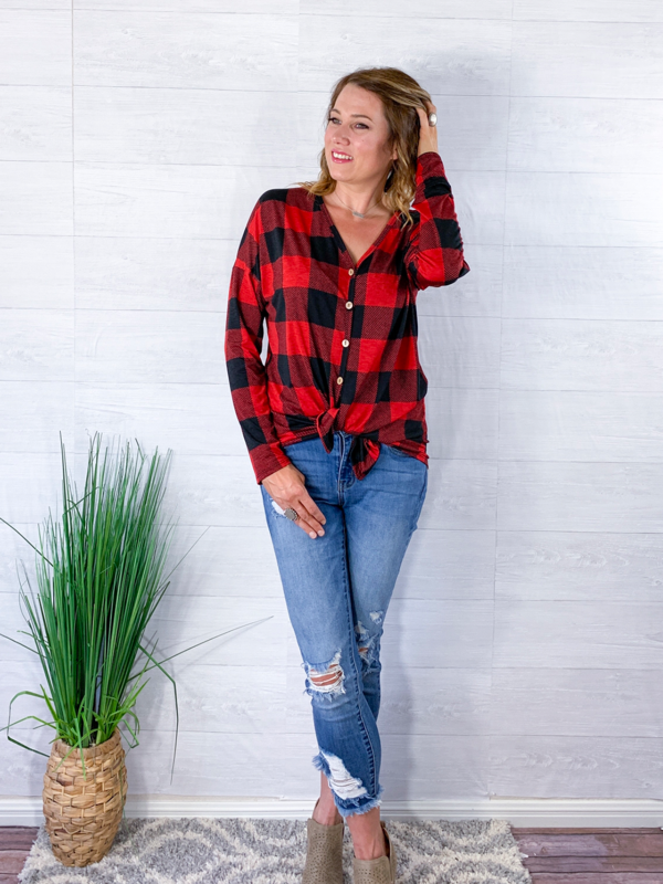 By The Fireside Plaid Top - Red/Black
