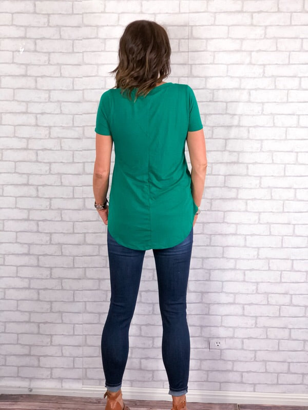 Basic Vneck Tee - Green