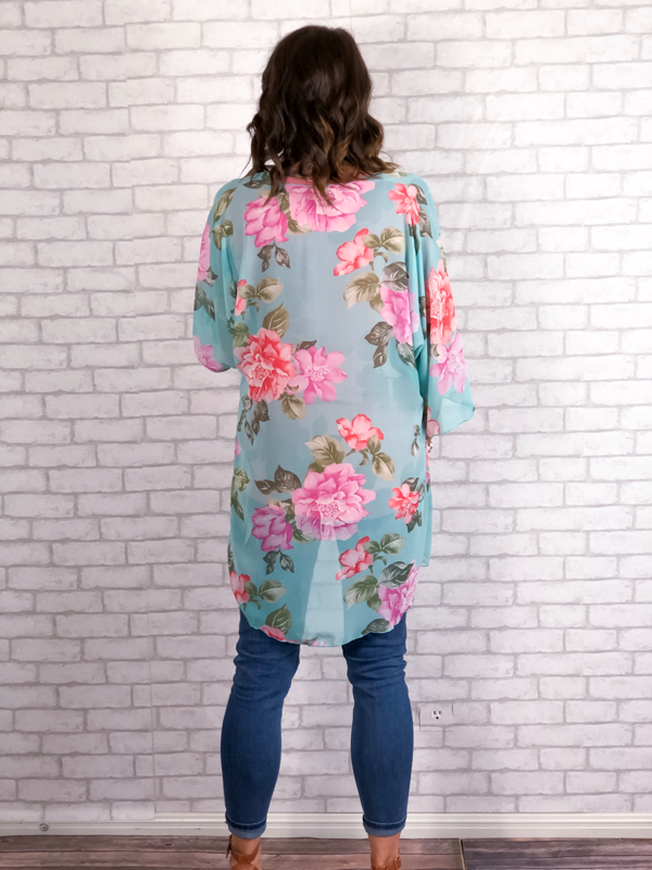 Sweet Summertime Floral Kimono - Mint
