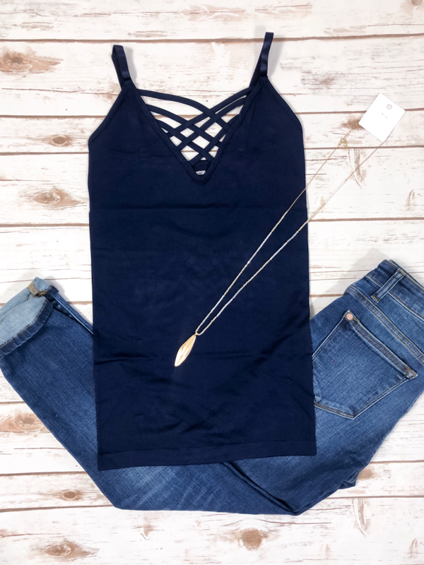 Criss Cross Cami - Navy