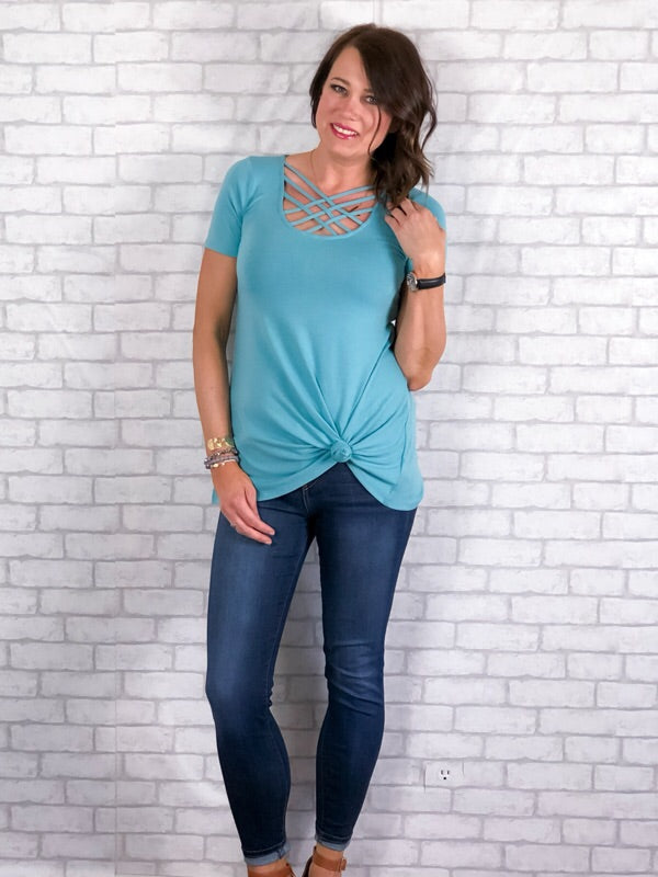 Basic Criss Cross Top - Mint
