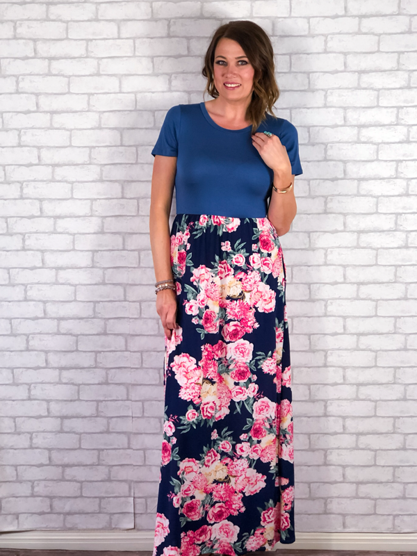 Summer Evening Maxi Dress - Navy