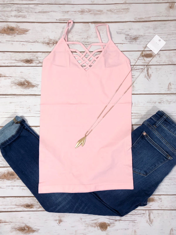 Criss Cross Cami - Light Pink